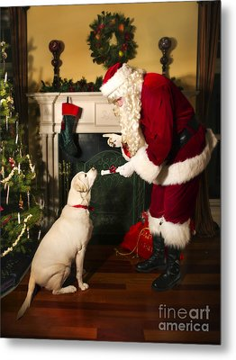Santa Giving The Dog A Gift Metal Print by Diane Diederich