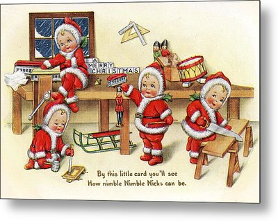 Santa Helpers At Work Metal Print by Munir Alawi