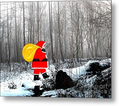 Santa In Christmas Woodlands Metal Print by Patrick J Murphy