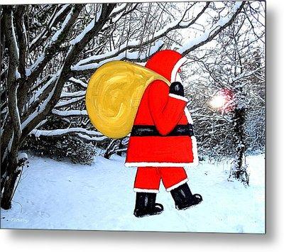 Santa In Winter Wonderland Metal Print by Patrick J Murphy