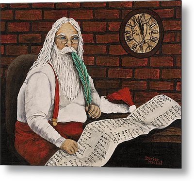 Santa Is Checking His List Metal Print by Darice Machel McGuire