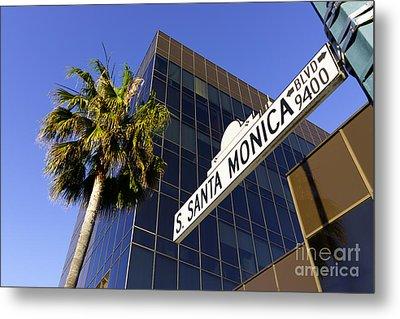 Santa Monica Blvd Sign In Beverly Hills California Metal Print by Paul Velgos