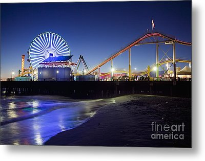 Santa Monica Pier At Night Metal Print