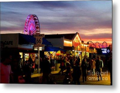 Santa Monica Pier At Sunset Metal Print by Diana Sainz