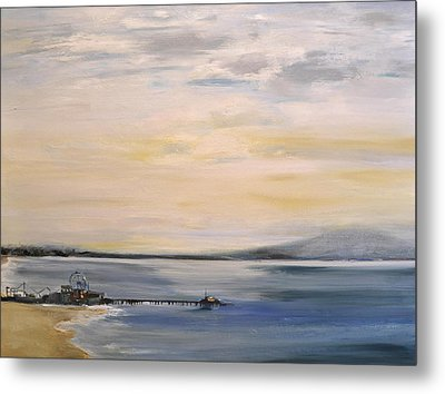 Metal Print featuring the painting Santa Monica Pier by Lindsay Frost