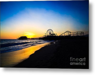 Santa Monica Pier Pacific Ocean Sunset Metal Print by Paul Velgos