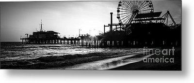Santa Monica Pier Panorama Black And White Photo Metal Print by Paul Velgos