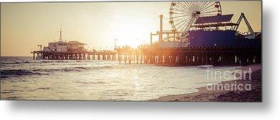 Santa Monica Pier Retro Sunset Panorama Photo Metal Print by Paul Velgos