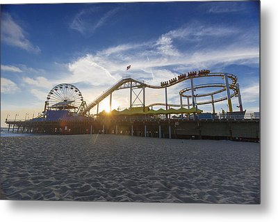 Santa Monica Pier Roller Coaster On Top Metal Print