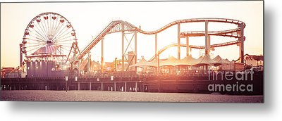 Santa Monica Pier Roller Coaster Panorama Photo Metal Print by Paul Velgos