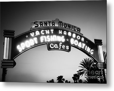 Santa Monica Pier Sign In Black And White Metal Print by Paul Velgos