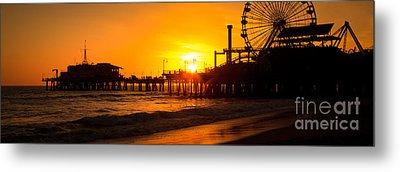 Santa Monica Pier Sunset Panorama Photo Metal Print by Paul Velgos