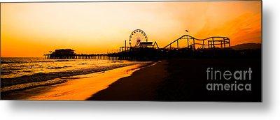 Santa Monica Pier Sunset Panorama Picture Metal Print by Paul Velgos