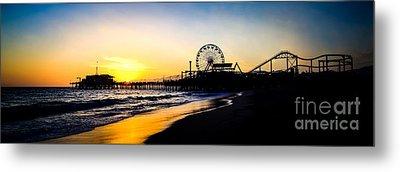 Santa Monica Pier Sunset Panoramic Photo Metal Print by Paul Velgos
