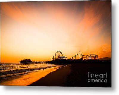 Santa Monica Pier Sunset Southern California Metal Print by Paul Velgos