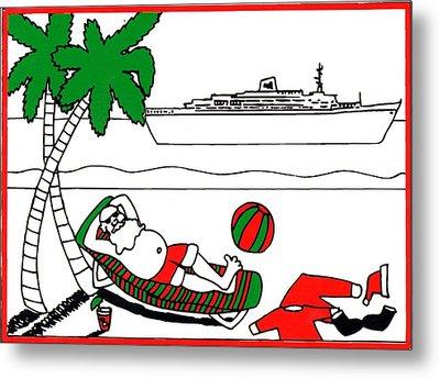 Santa On Vacation Metal Print by Genevieve Esson