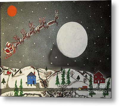 Metal Print featuring the painting Santa Over The Moon by Jeffrey Koss
