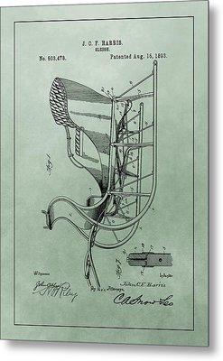 Santa Sleigh Patent Metal Print by Dan Sproul