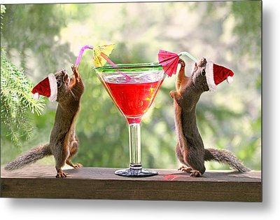 Santa Squirrels Celebrating Christmas Metal Print