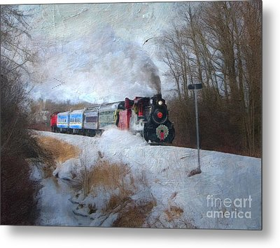 Santa Train - Waterloo Central Railway No Text Metal Print by Lianne Schneider