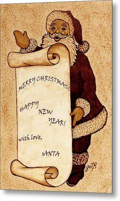 Santa Wishes Digital Art Metal Print by Georgeta  Blanaru