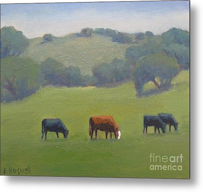 Metal Print featuring the painting Santa Ynez Cows by Jennifer Boswell