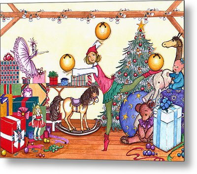 Metal Print featuring the painting Santa's Giftwrapper by Katherine Miller