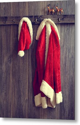 Santa's Hat And Coat Metal Print