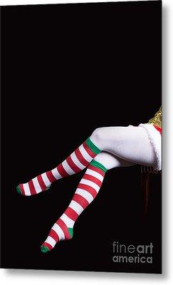 Santas Helper Legs Christmas Card Metal Print by Edward Fielding