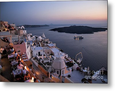 Santorini At Dusk Metal Print by David Smith