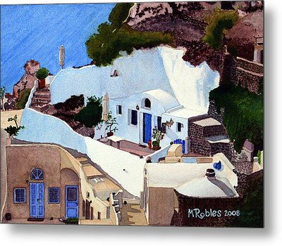 Santorini Cave Homes Metal Print by Mike Robles