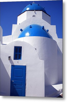 Metal Print featuring the photograph Santorini Church  by Colette V Hera  Guggenheim