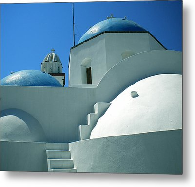Metal Print featuring the photograph Santorini Church Greece by Colette V Hera  Guggenheim