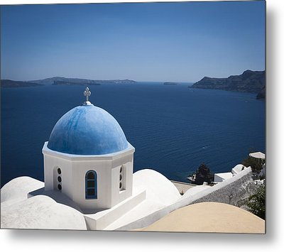 Metal Print featuring the photograph Santorini Church On A Summer Day by Don McGillis