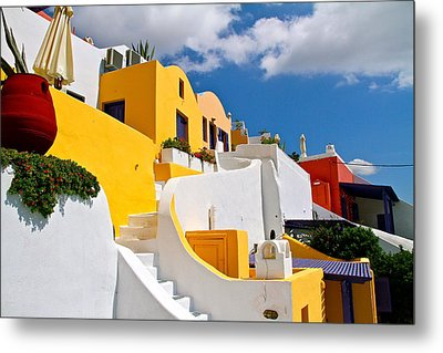 Metal Print featuring the pyrography Santorini Cliff by John Babis