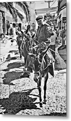 Metal Print featuring the photograph Santorini Donkey Train. by Meirion Matthias