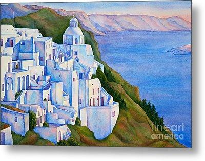 Santorini Greece Watercolor Metal Print