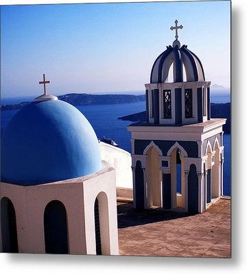 Metal Print featuring the photograph Santorini  Island Church Greece  by Colette V Hera  Guggenheim