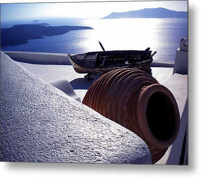 Santorini Island Early Sunset View Greece Metal Print