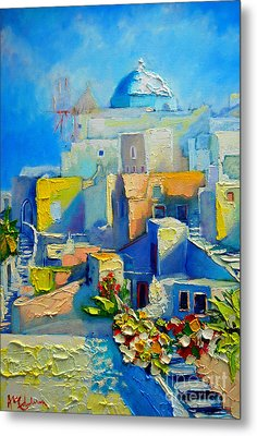 Santorini Light Metal Print