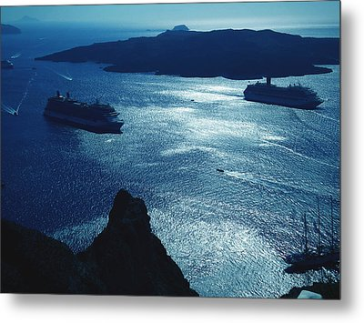 Metal Print featuring the photograph Santorini  Silent Night View Greece by Colette V Hera  Guggenheim