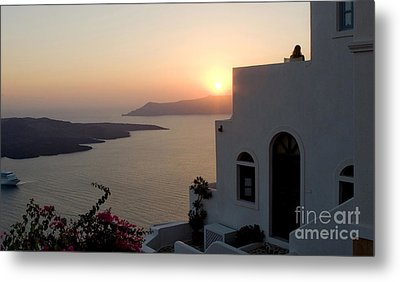 Santorini Sunset 24x14 Metal Print by Leslie Leda