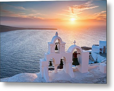 Santorini Sunset Metal Print by Evgeni Dinev