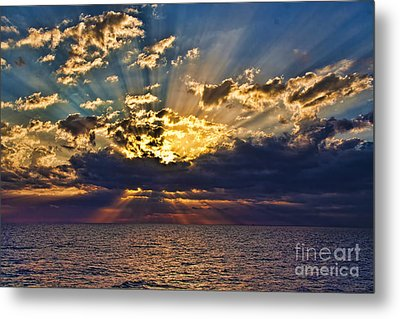 Metal Print featuring the photograph Santorini Sunset by Shirley Mangini