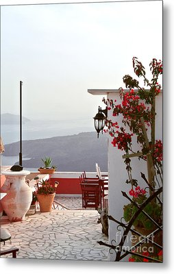 Santorini Terrace Metal Print by Sarah Christian