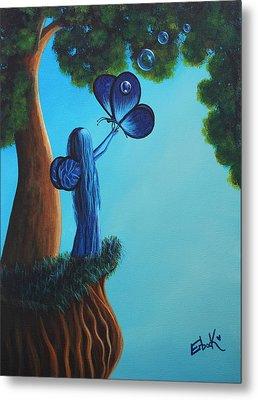 Sapphire Fairy Original Whimsical Painting Metal Print by Shawna Erback