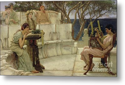 Sappho And Alcaeus Metal Print by Sir Lawrence Alma-Tadema