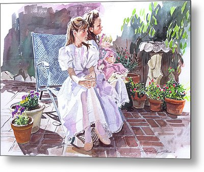 Sara And Erin Foster - Waiting For Lunch Metal Print by David Lloyd Glover