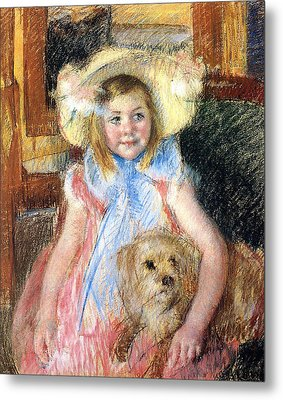 Sara And Her Dog Metal Print by Mary Stevenson Cassatt