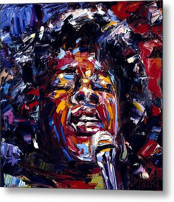 Sarah Vaughan Jazz Face Series Metal Print by Debra Hurd